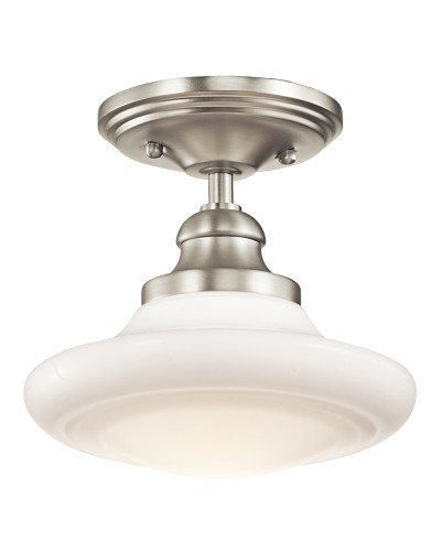 Elstead Lighting Kichler Keller 1 Light Small Duo-Mount Pendant In Brushed Nickel Finish With Height Adjustable Rods