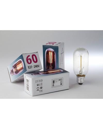 Elstead Lighting Vintage Style Filament Bulb: 60 Watt E27 Edison Screw; Tubular Shaped