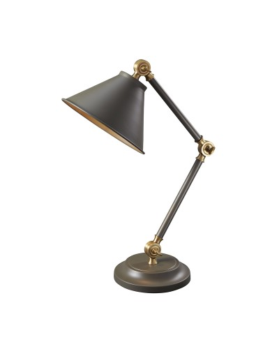 Elstead Lighting Provence Element 1 Light Table Lamp In Dark Grey/Aged Brass Finish With Adjustable Arm