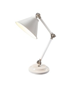 Elstead Lighting Provence Element 1 Light Table Lamp In White/Polished Nickel Finish With Adjustable Arm