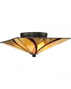 Quoizel Tiffany Asheville 2 Light Flush Ceiling Light In Valiant Bronze Finish