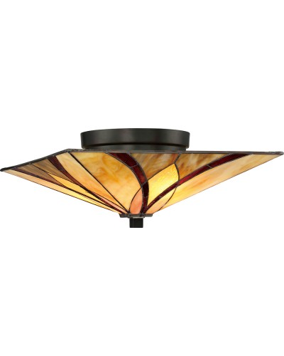 Quoizel Tiffany Asheville 2 Light Flush Ceiling Light In Valiant Bronze Finish