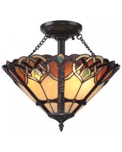 Quoizel Tiffany Cambridge 2 Light Large Semi Flush Ceiling Light In Vintage Bronze Finish