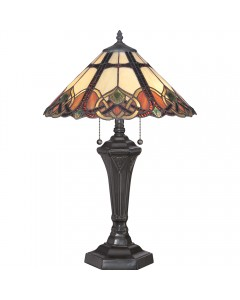 Quoizel Tiffany Cambridge 2 Light Table Lamp In Vintage Bronze Finish