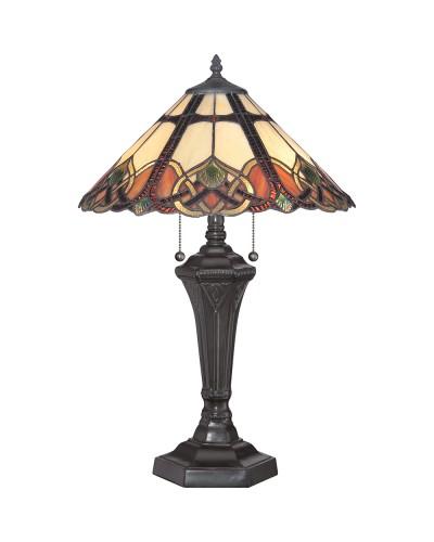 Quoizel Tiffany Cambridge 2 Light Table Lamp In Vintage Bronze Finish