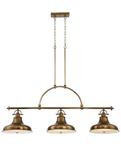Elstead Lighting Quoizel Emery 3 Light Island Pendant In Weathered Brass Finish