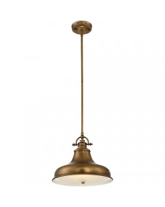 Elstead Lighting Quoizel Emery 1 Light Medium Pendant In Weathered Brass Finish With 4 Height Adjustable Rods