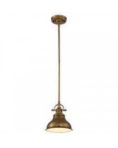 Elstead Lighting Quoizel Emery 1 Light Mini Pendant In Weathered Brass Finish With 4 Height Adjustable Rods