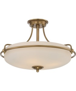 Elstead Lighting Quoizel Griffin Medium 4 Light Semi-Flush Ceiling Light In Weathered Brass Finish