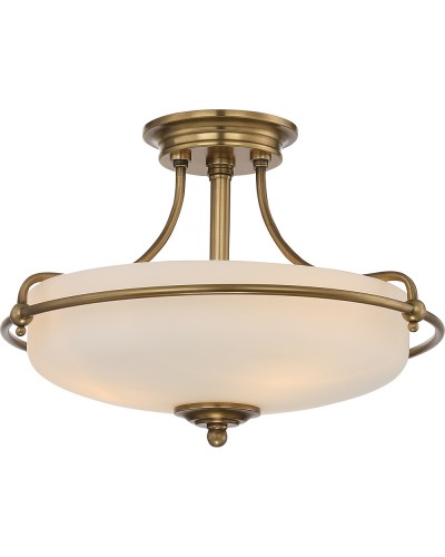 Elstead Lighting Quoizel Griffin Small 3 Light Semi-Flush Ceiling Light In Weathered Brass Finish