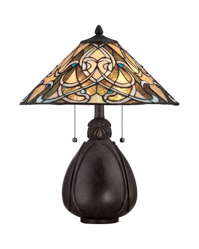 Quoizel Tiffany India 2 Light Table Lamp In Imperial Bronze Finish