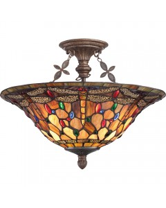 Quoizel Tiffany Jewel Dragonfly 3 Light Large Semi Flush Ceiling Light In Malaga Finish