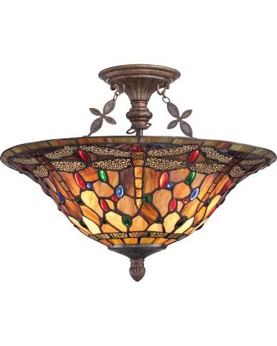 Quoizel Tiffany Jewel Dragonfly 3 Light Large Semi Flush Ceiling Light In Malaga Finish