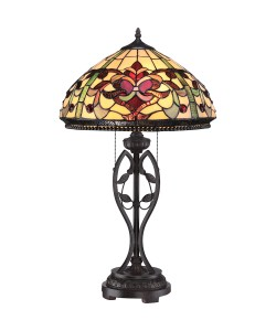 Elstead Lighting Quoizel Tiffany Kings Pointe 2 Light Table Lamp In Imperial Bronze Finish