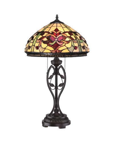 Quoizel Tiffany Kings Pointe 2 Light Table Lamp In Imperial Bronze Finish