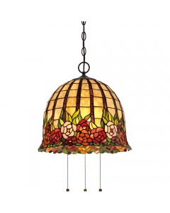 Quoizel Tiffany Rosecliffe 3 Light Pendant In Imperial Bronze Finish