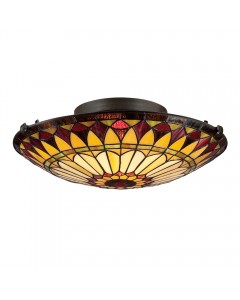 Quoizel Tiffany West End 2 Light Floating Flush Mounted Ceiling Light In Vintage Bronze Finish